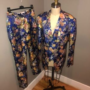Pants - Floral Jacquard Satin Suit Set
